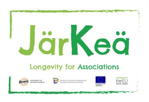"""Järkeä-hankkeen logo. Logossa hankkeen nimi, slogan """"Longevity for Associations"""" sekä rahoittajien logot."""