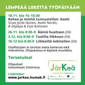 """""""JärKeä-hankkeessa tarjottavien ohjattujenLempeää liikettä työpäiviin -liikuntatuokioiden aikataulu infograafi, tieto löytyy tekstistä."""""""